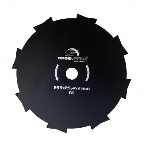 Disc motocoasa pentru tuns iarba, GreenField, otel, 8 dinti, 255 x 2 x 25.4 mm