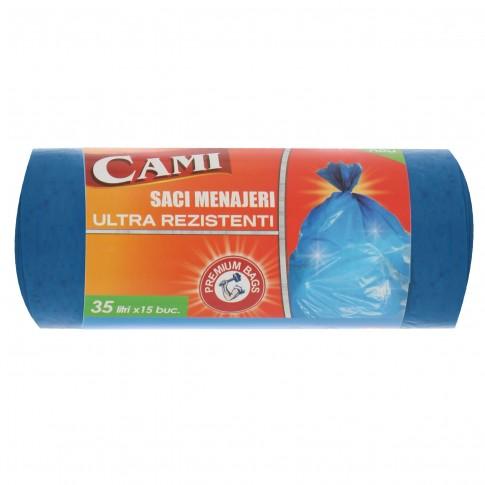 Saci menajeri / gunoi Cami, ultra rezistenti, albastru, 35L, 15 buc