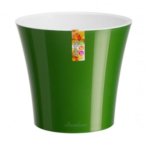 Ghiveci din plastic Arte, cu sistem de autoudare, verde-alb, 5 l, D 22 cm