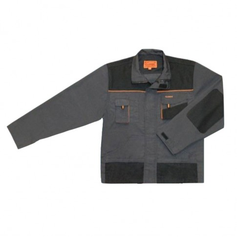 Jacheta Classic, poliester si bumbac, gri inchis + negru + portocaliu, marimea 58