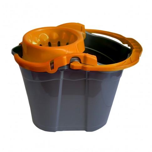 Galeata din plastic cu storcator Misavan, gri + portocaliu, 14L