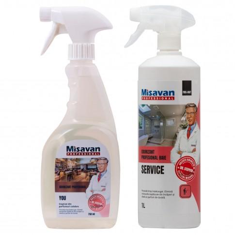 Odorizant baie profesional Dr. Stephan Service spray 1L + odorizant camera profesional Dr. Stephan You spray 750 ml