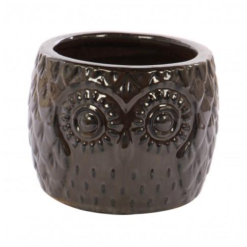 Ghiveci ceramic, maro, 20 x 15 cm