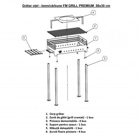 Gratar gradina, cu carbuni, Premium 3172, demontabil, otel, 58 x 30 x 89 cm