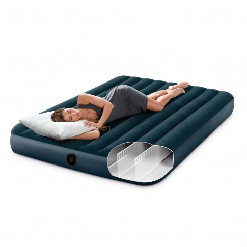 Saltea gonflabila Intex 64736, pentru camping, 2 persoane,  203 x 152 x 25 cm + pompa + 2 perne