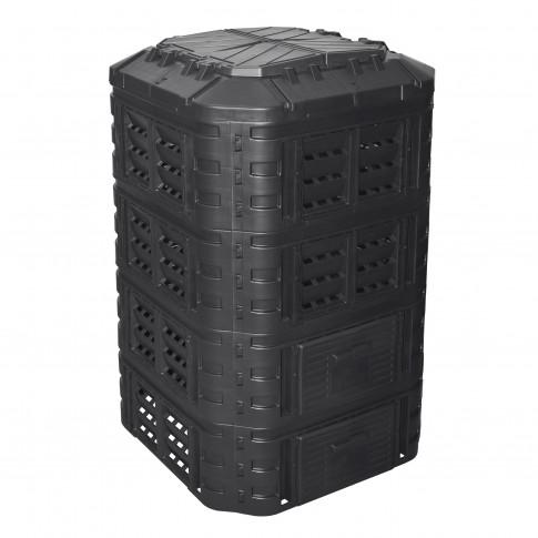 Lada compost pentru gradina, din PVC, neagra, 1000 L
