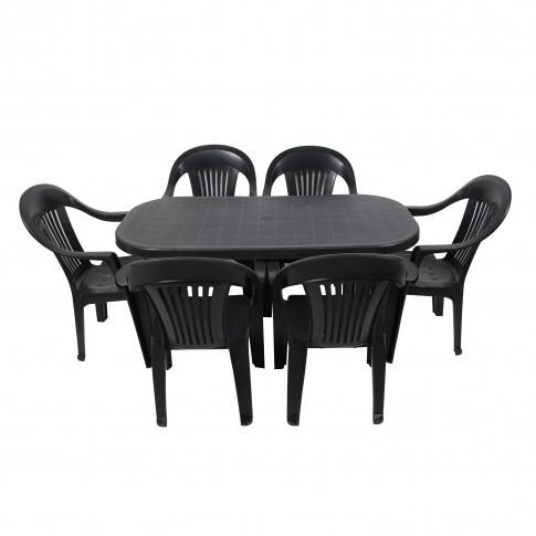 Set masa ovala, cu 6 scaune, pentru gradina, din plastic, antracit