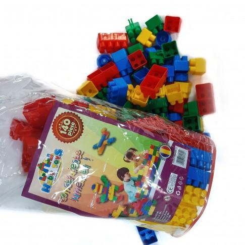 Jucarie creativa, pentru copii, cuburi de constructie, din plastic, set 140 de piese