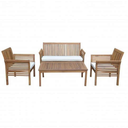 Set masa dreptunghiulara, cu 2 scaune +1 canapea, pentru gradina, cu perne Hanoi, din lemn