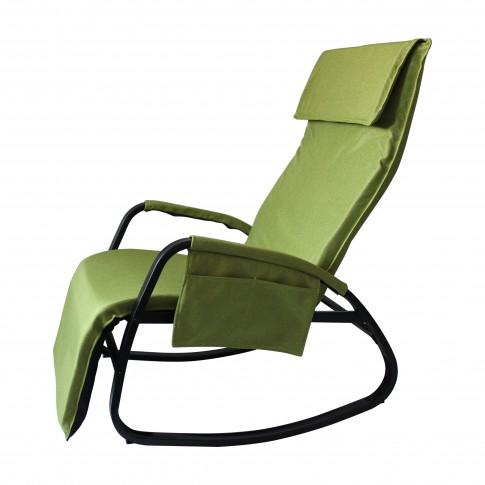 Scaun pentru gradina, balansoar, HPHC002, reglabil, metal + poliester, verde