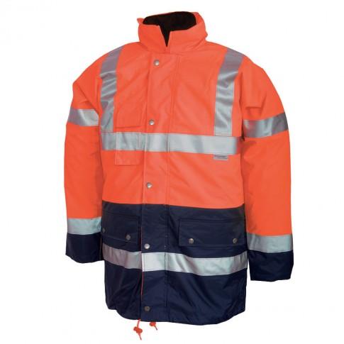 Jacheta de iarna Renania 3 in 1, scurta,  reflectorizanta, 100% PES Oxford + membrana PU, portocaliu fluorescent + bleumarin, cu buzunare si gluga, marimea XXL