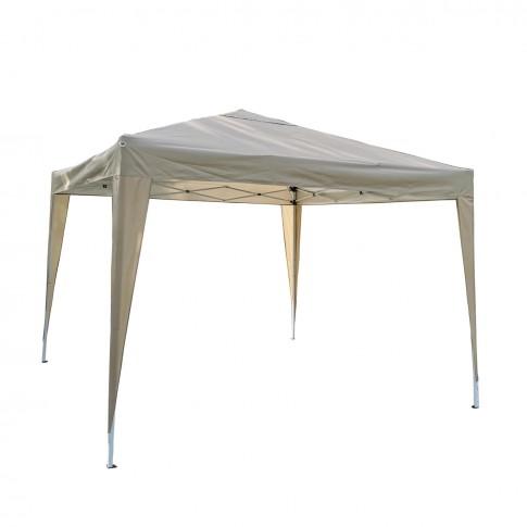 Pavilion gradina ZRG029.M.B-2, patrat, cadru metalic + poliester, pliabil, maro, 3 x 3 m