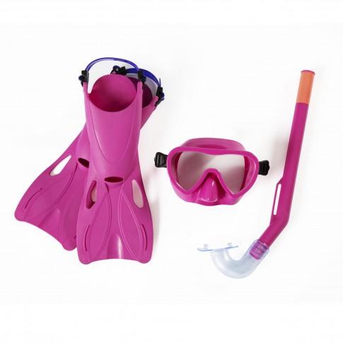 Set inot copii Flapper Bestway 25039, masca + tub respiratie + labe inot, roz / albastru