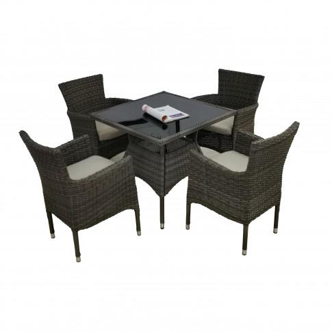 Set masa dreptunghiulara, cu 4 scaune cu perne, pentru gradina Baisha, din metal cu ratan sintetic
