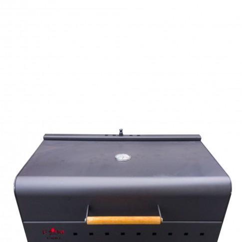 Gratar gradina, cu carbuni, FM Grill Premium R cu fonta si capac, demontabil, din otel, cu roti deplasare, 60 x 35 cm