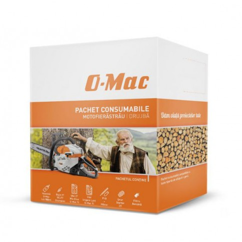 Drujba / motofierastrau pe benzina O-Mac 5800, lungime sina 45 cm, 3.8 CP, 2.8 kW, 5 kg + pachet consumabile