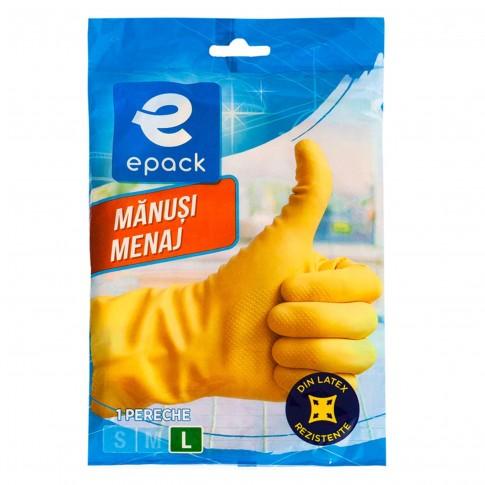 Manusi menaj Epack N2262V, latex, marimea L, galben, 1 pereche