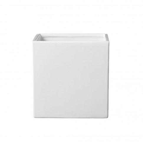 Ghiveci ceramic Latina, alb, patrat, 15 x 15 cm