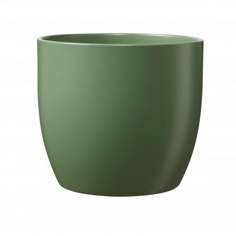 Ghiveci ceramic Basel, verde, rotund, 13 x 12 cm