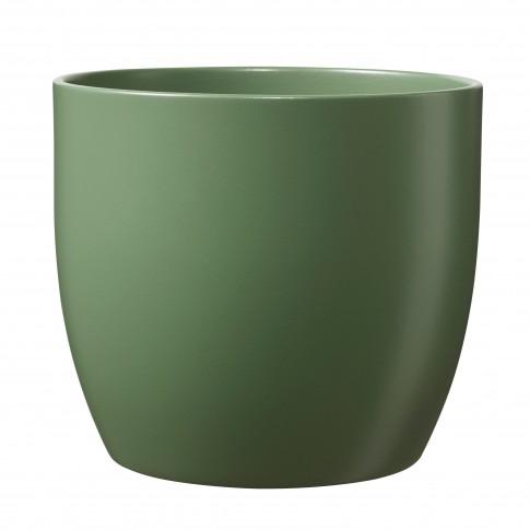 Ghiveci ceramic Basel, verde, rotund, 14 x 13 cm