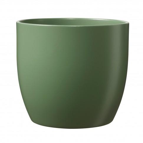 Ghiveci ceramic Basel, verde, rotund, 16 x 15 cm