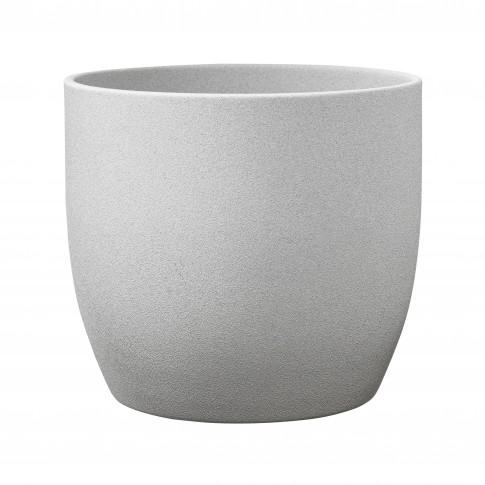 Ghiveci ceramic Stone, gri, rotund, 13 x 12 cm