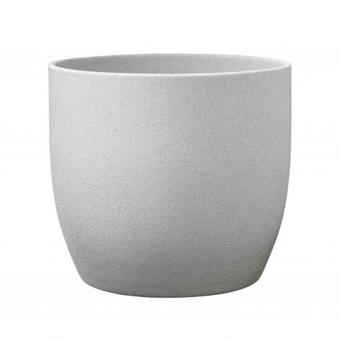 Ghiveci ceramic Stone, gri, rotund, 14 x 13 cm
