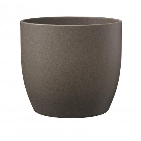 Ghiveci ceramic Stone, maro, rotund, 13 x 12 cm
