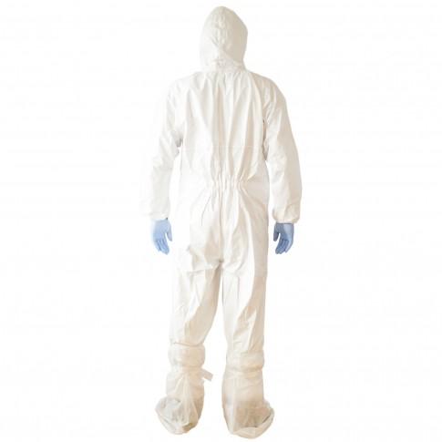 Combinezon de protectie chimica Vicmod, cu gluga, polipropilena laminata cu pelicula TPPTG, marime S