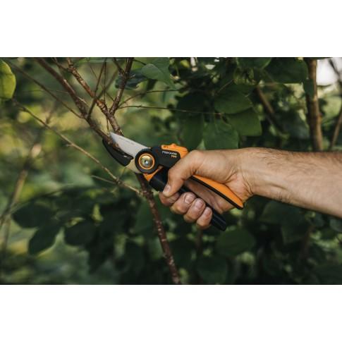 Foarfeca de gradina, pentru taiat crengi pomi, Fiskars P941, cu nicovala, lama otel, 28.5 cm