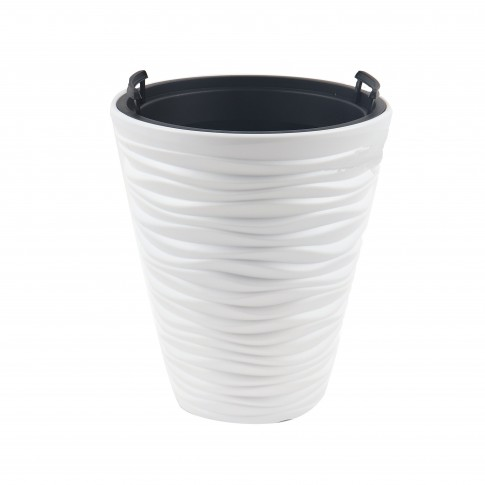 Ghiveci din plastic Sand, alb, D 38.8 cm