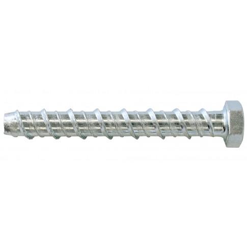 Surub pentru beton, din otel, zincat alb, cu cap hexagonal, Hex 15, filetat complet, Friulsider CLR, 10 x 75 mm