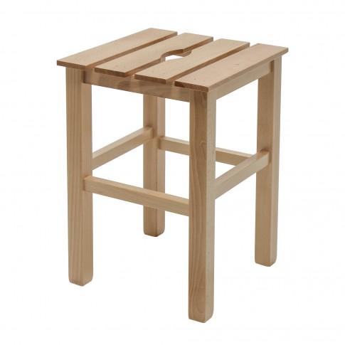 Taburet Sauna fix, patrat, lemn natur, 31 x 31 x 45 cm