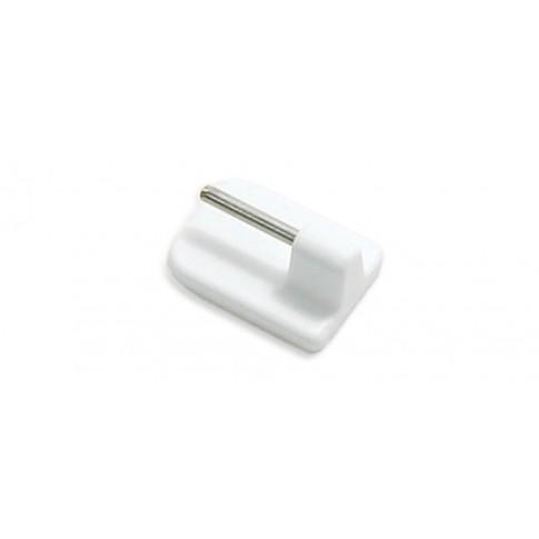 Carlig pentru bare perdelute 357, cu prindere adeziv, PVC, alb, set 4 bucati
