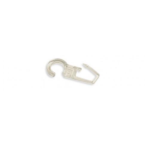 Carlig pentru falduri perdele / draperii 2350, prindere pe inel, plastic, transparent, L 38 mm, D 10.4 mm, set 10 bucati