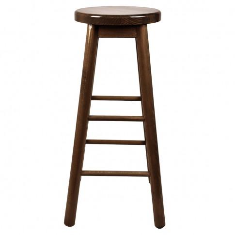 Scaun bar, fix, rotund, lemn nuc, 75 cm