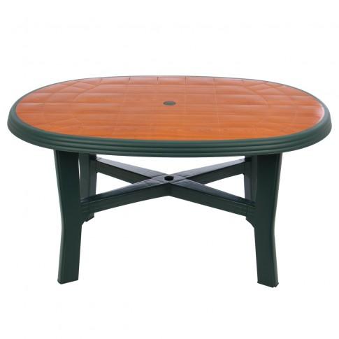 Masa fixa pentru gradina Tamigi Wood, plastic, ovala, 6 persoane, 137 x 88 x 72 cm