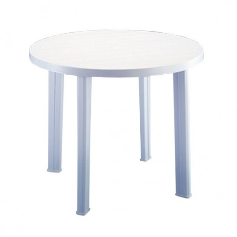 Masa fixa pentru gradina Tondo, plastic, rotunda, 4 persoane, 90 x 72 cm, alba