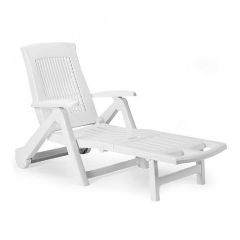 Sezlong plaja Zircone, pliabil, structura plastic, alb, 195 x 72 x 101 cm