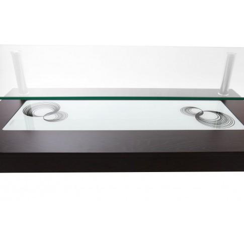 Masuta cafea din sticla TT 111, dreptunghiulara, wenge, 110 x 60 x 45 cm, 2C