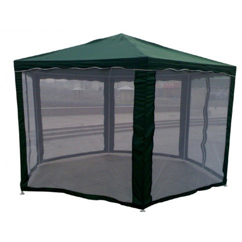 Pavilion gradina, hexagonal, cadru metalic, verde, latura 1.8 m