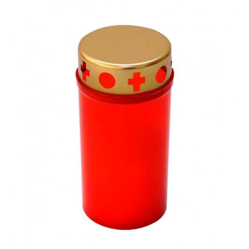 Candela tip 130-72 H, plastic + capac metal, h 12 cm, rosie