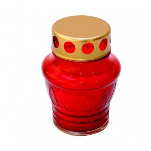 Candela Sticla-10 H, sticla + capac metal, h 11.5 cm, rosie