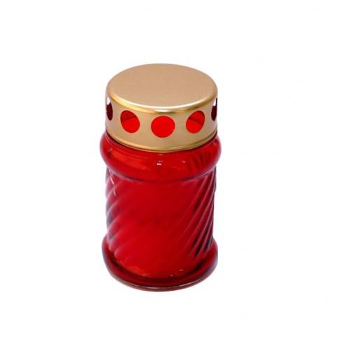 Candela Sticla-12 H, sticla + capac metal, h 12 cm, rosie