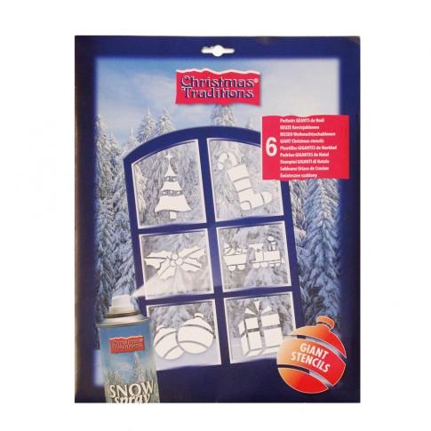 Sabloane Craciun pentru decorat ferestre, 28.5 x 39 cm, 6 modele / set
