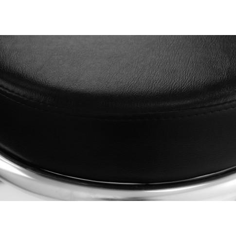 Scaun bar Zeta, fix, otel cromat + imitatie piele neagra, 96 cm