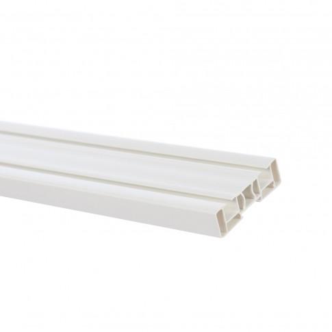 Sina perdea si draperie SN, 2 canale, prindere tavan, PVC, alb, 400 cm, set cu accesorii