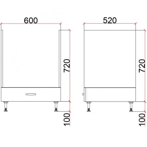 Corp inferior bucatarie Martplast 3006, pentru cuptor, diverse culori, 60 x 52 x 82 cm