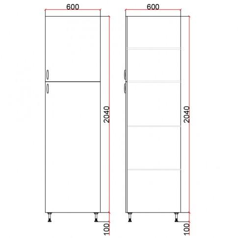Dulap bucatarie Martplast 3008, diverse culori, 2 usi, 60 x 60 x 214 cm