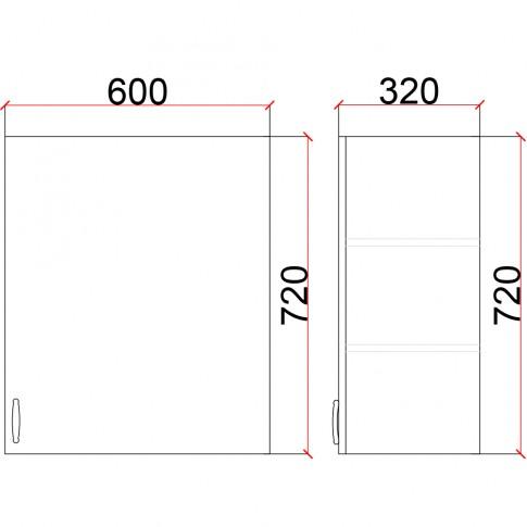 Corp superior bucatarie Martplast 1005(1), diverse culori, 60 x 32 x 72 cm
